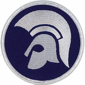 Embroidered Patch: Trojan Helmet - Blue and White
