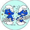"1"" Pin: Sic & Mad - Degenerate Smurfs"
