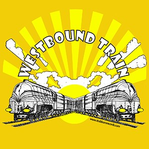 "T-Shirt: Westbound Train ""Sunrise"" - 3 colors on Gold"